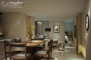 """Визуализация гостиной 34 кв. м. выполнена в стиле """"Модерн"""""""