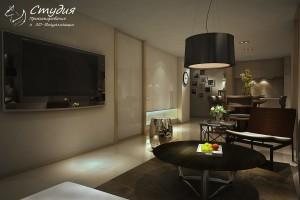 """Визуализация гостиной 34 кв. м. выполнена в стиле """"Модерн""""."""