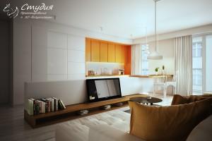 Визуализация квартиры-студии 28 кв. м. выполнена в стиле
