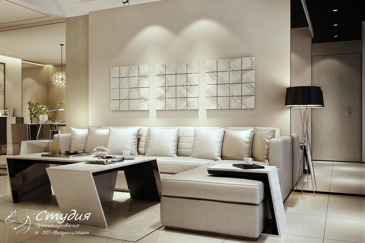 """Дизайн гостиной выполненный в стиле """"Минимализм"""""""