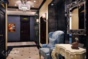 """Холл. Визуализация элитной квартиры 120 кв.м. Квартира выполнена в стиле """"Гламур""""."""