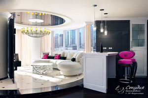 """Гостиная зона. Визуализация элитной квартиры 120 кв.м. Квартира выполнена в стиле """"Гламур""""."""
