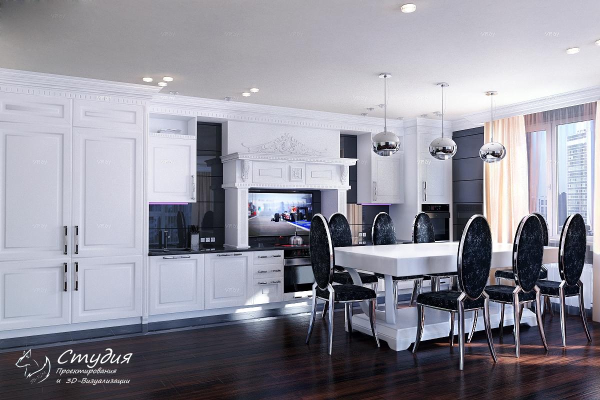 """Кухонная зона. Визуализация элитной квартиры 120 кв.м. Квартира выполнена в стиле """"Гламур""""."""
